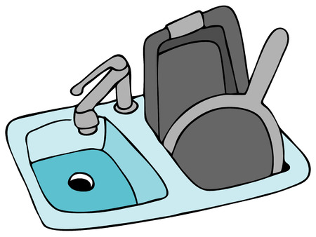 An image of a kitchen sink with pans. Çizim
