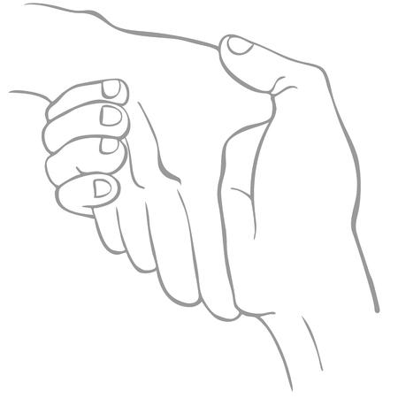 Een afbeelding van een twee handen schudden in een lijnstijl kunst.