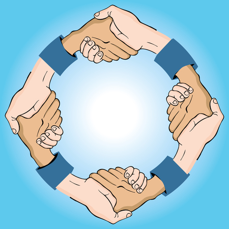 An image of a circular shaking of hands.