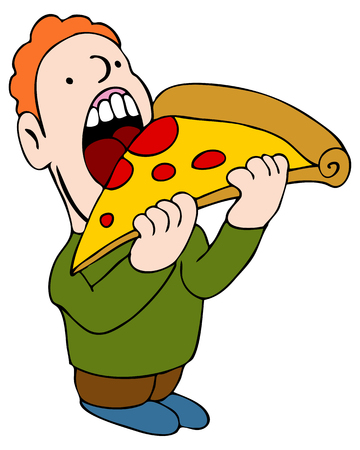 giant man: An image of a man eating a slice of pizza.