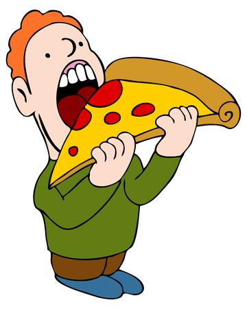 kid eat: Una imagen de un hombre comiendo una rebanada de pizza.