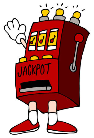 machines: An image of a cartoon slot machine man.