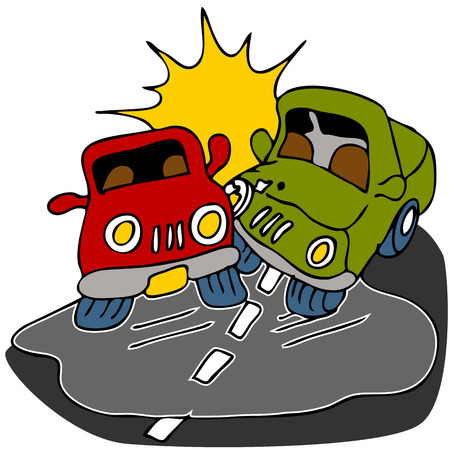 cartoon accident: An image of two cars crashing on black ice.