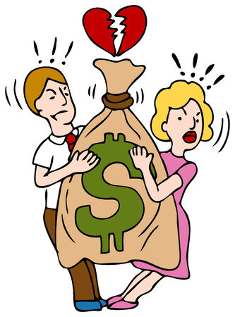 divorce court: An image of a couple fighting over a bag of money. Illustration