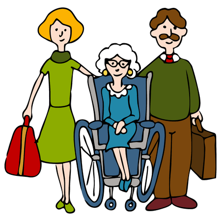 wheelchair man: An image of a family moving elderly woman to a nursing home.