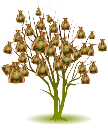 An image of a tree growing bags of money.
