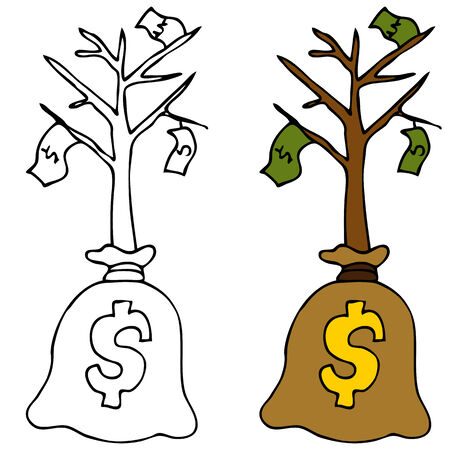 An image of a young money tree. Vector