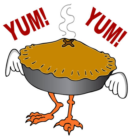 hen and chicken: An image of a chicken pot pie cartoon character. Illustration