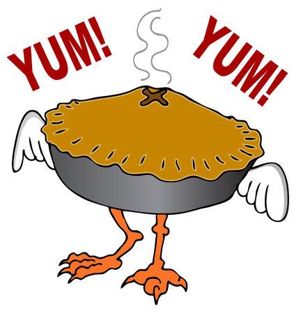 pie: An image of a chicken pot pie cartoon character. Illustration
