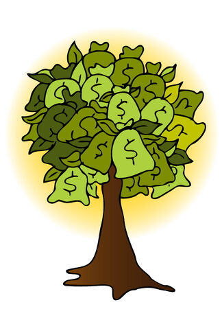 An image of a money bag tree drawing with glowing sun background.