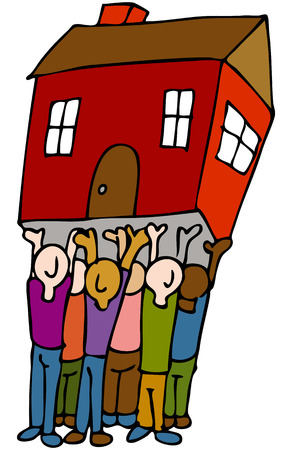 raise: An image of a people lifting a house. Illustration
