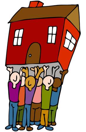 Een beeld van een volk het optillen van een huis.