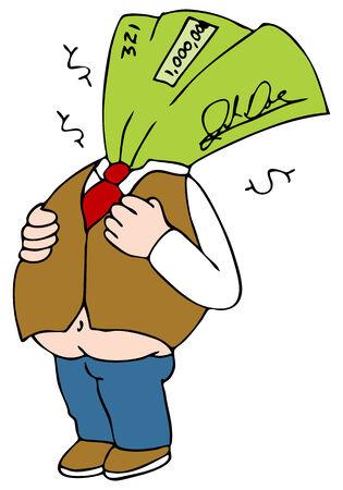 An image of a fat paycheck cartoon character. Vector