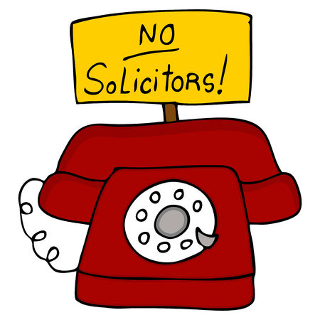 soliciting: An image of a telephone with a no solicitors sign.