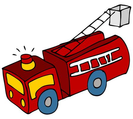 An image of a cartoon fire engine truck. Vector