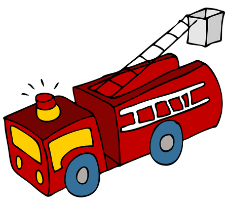 medical drawing: An image of a cartoon fire engine truck.