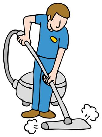 Een beeld van een man met een tapijt reinigen machine.