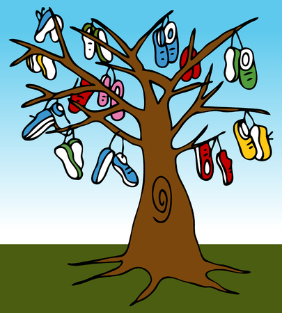 An image of a tree with many shoes hanging from the limbs. Vector