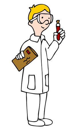medical drawing: An image of a lab technician looking at a vial of blood sample.