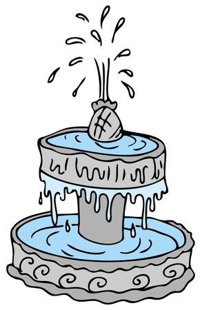 An image of a cartoon water fountain. Vector