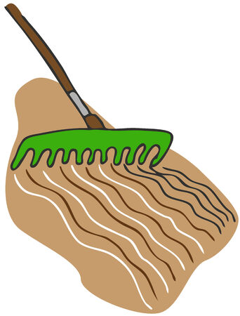 An image of a rake garden tool raking the soil.