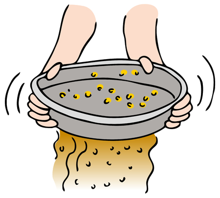 An image of a person panning for gold. Stock Vector - 8579073