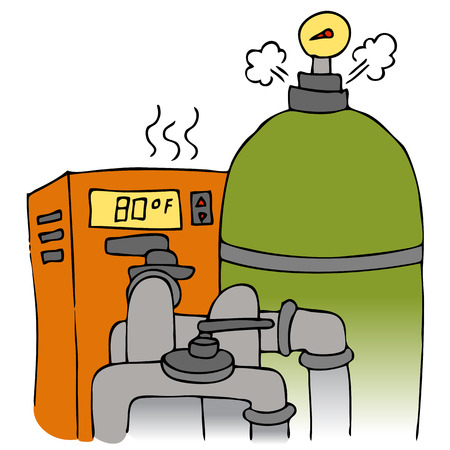 pumping: An image of a pool pump and heating equipment. Illustration