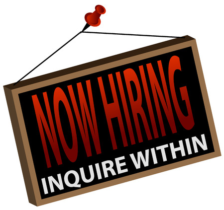 An image of a now hiring sign. Illustration