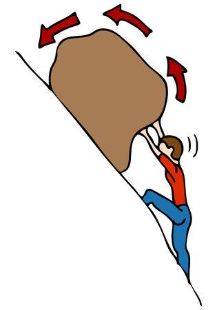 둥근 돌: An image of a man rolling a rock uphill.
