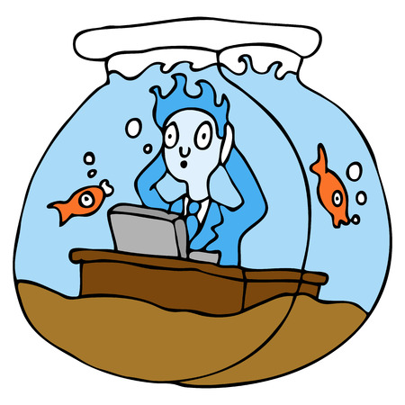 gold fish bowl: An image of a employee working in a fish bowl. Illustration