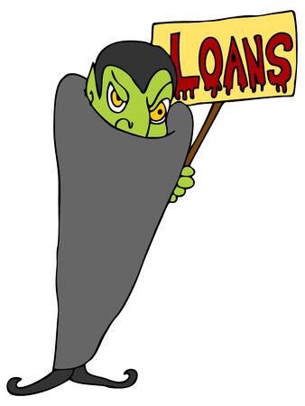 Una imagen de un vampiro ofreciendo préstamos financieros. Foto de archivo - 8579074