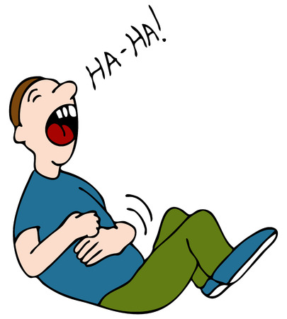 hysterical: An image of a laugh hysterically while hold his stomach.