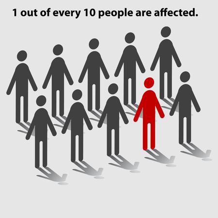 Gráfico estadístico de las personas que muestran uno de cada 10 personas afectadas. Ilustración de vector
