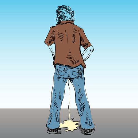 urination: An image of a man urinating in public.