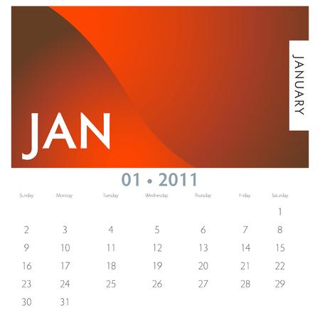 An image of a 2011 January calendar.