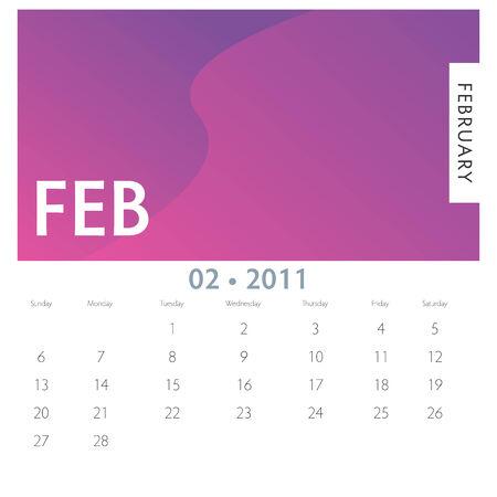 An image of a 2011 February calendar.