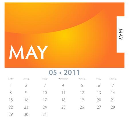 An image of a 2011 May calendar. 向量圖像