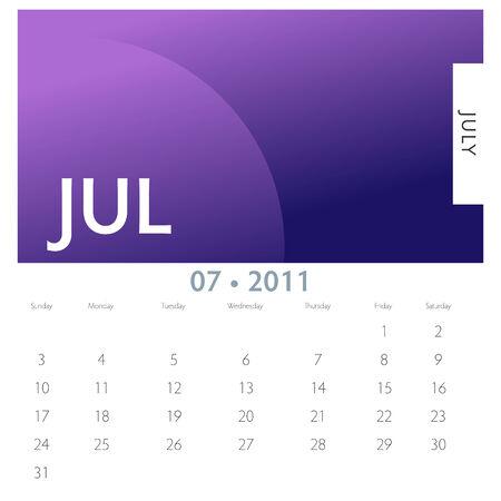 An image of a 2011 July calendar.
