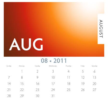 august calendar: Una imagen de un calendario de agosto de 2011. Vectores