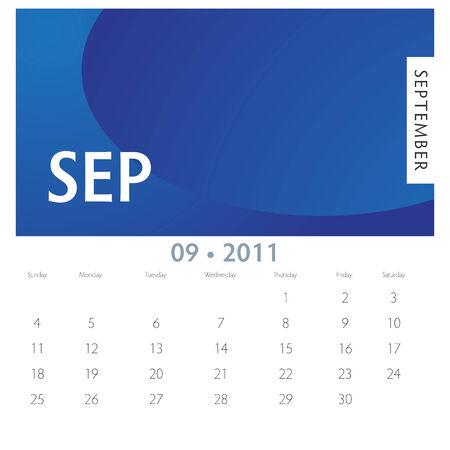 An image of a 2011 September calendar. 向量圖像