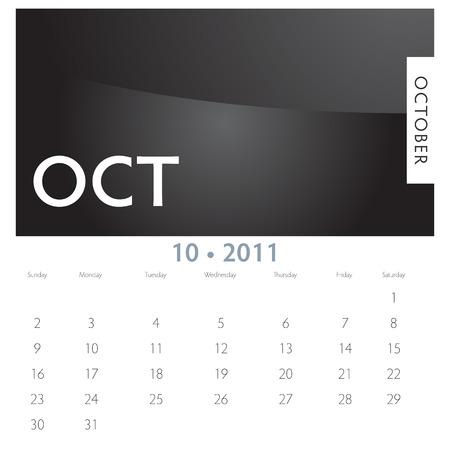An image of a 2011 October calendar. 向量圖像