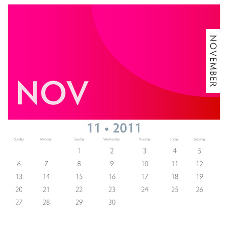 november calendar: An image of a 2011 November calendar.