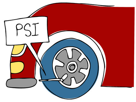 car tire: An image of a PSI tire pressure. Illustration