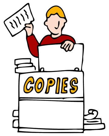fotocopiadora: Una imagen de un hombre hacer copias.