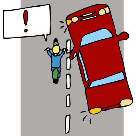 An image of a motorcycle accident with a car. Ilustração