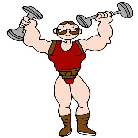 Una imagen de un personaje de hombre fuerte de circo.