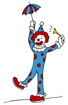 cartoon umbrella: An image of a tightrope walking circus clown.