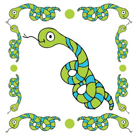hiss: An image of a cartoon snake border. Illustration