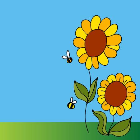 Een afbeelding van een twee zonne bloemen en twee bijen. Vector Illustratie