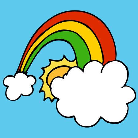雲と太陽と虹のイメージ。